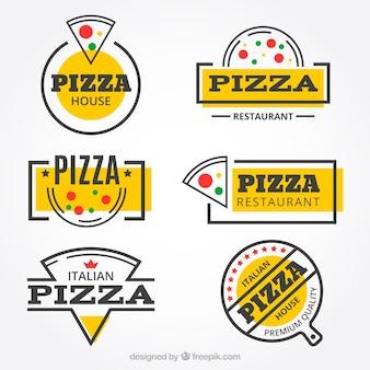 Современная коллекция логотипов ресторана пиццы