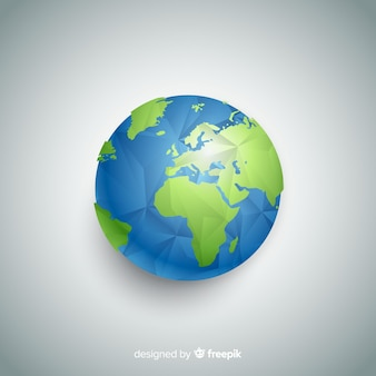 Modern planet earth composition with polygonal style