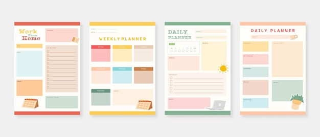 Modern planner template set set of planner and to do list m