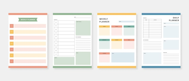 Modern planner template set. set of planner and to do list. monthly, weekly, daily planner template.