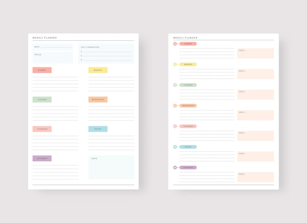 Modern planner template set set of planner and to do list weekly planner template