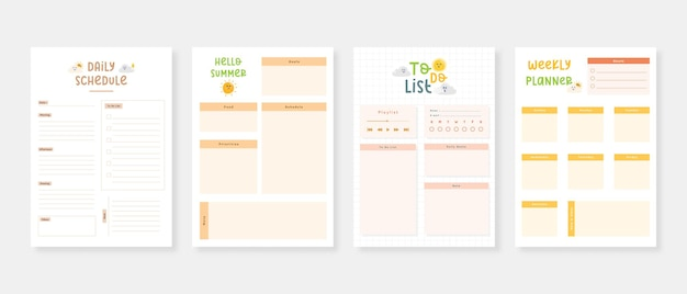 Modern planner template set set of planner and to do list
