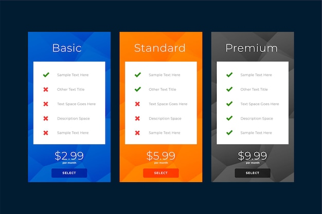 Modern plans and pricing subscription comparison template