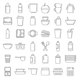 Modern plastic tableware icons set, outline style
