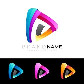 Modern play logo design colorful play logo template