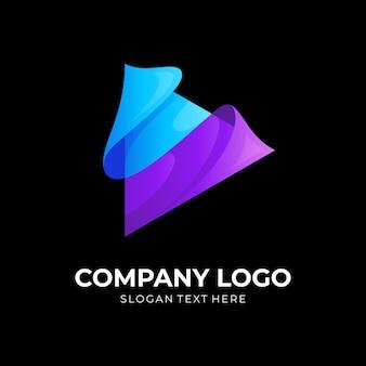 3d 다채로운 아이콘 현대 놀이 로고 디자인 벡터