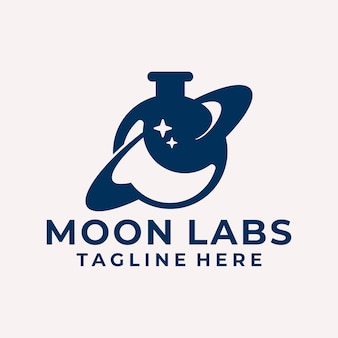 Modern and playful moon labs logo vector