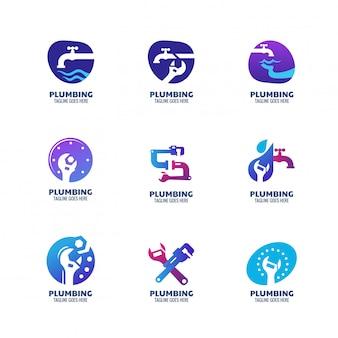 Шаблон логотипа modern plumbing для сантехнического сервиса и компании