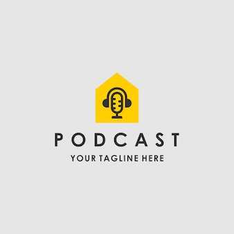 Modern podcast house template logo