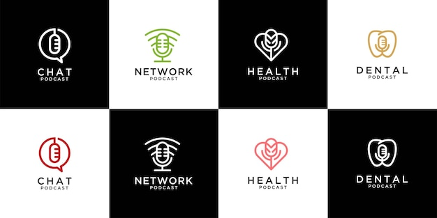 Modern podcast logo design collection