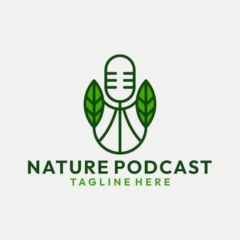 葉のロゴのベクトルと自然なモダンなポッドキャスト