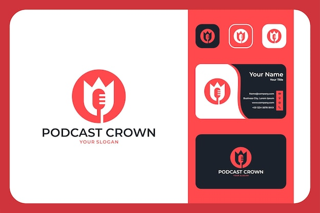 크라운 로고 디자인과 명함이 있는 현대적인 팟캐스트