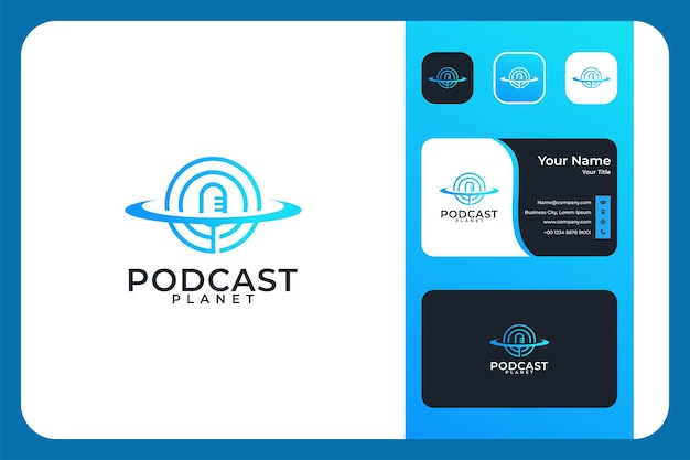 Modern podcast with planet logo design and business card