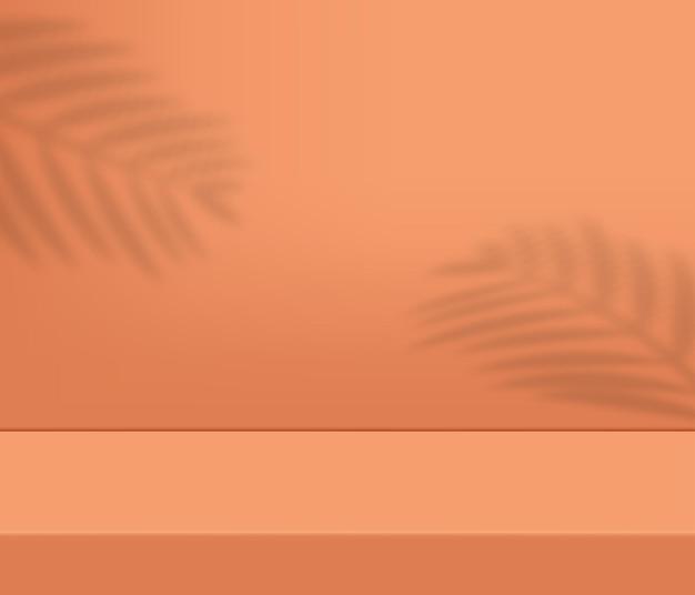 Современный подиум для презентации продукции с тенью тропического дерева