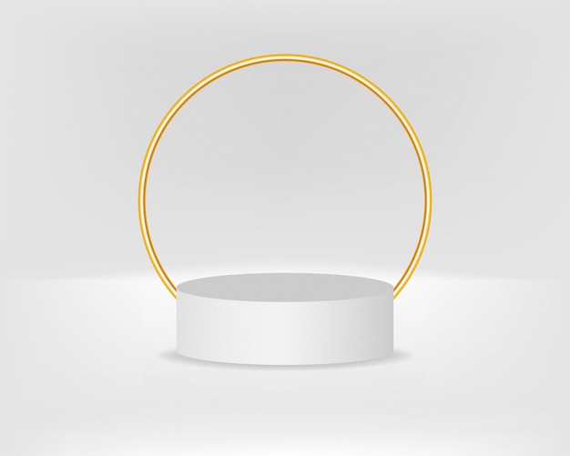 Modern podium for product with golden arch Premium Vector
