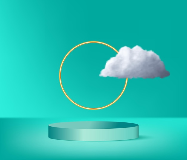 Modern podium with golden ring and white cloud Premium Vector
