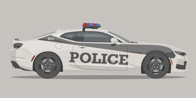 現代の警察スポーツマッスルカーの側面図