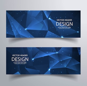 Modern polygonal banners