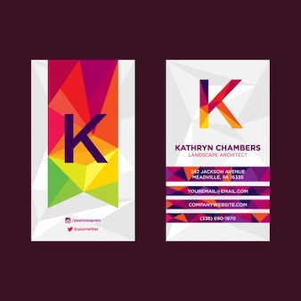 Modern polygonal colorful business card