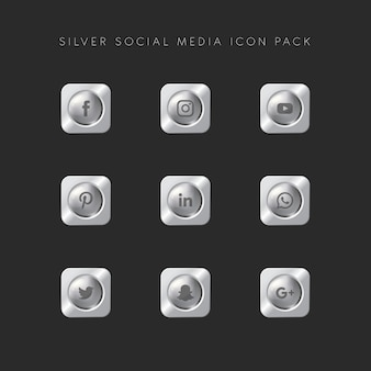 Modern popular social media icon pack silver version