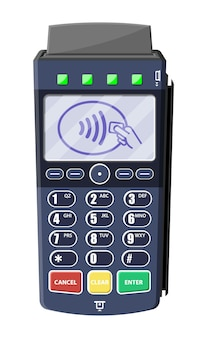 最新のpos端末。銀行支払い装置。支払いnfcキーパッドマシン。