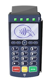 Modern pos terminal. bank payment device. payment nfc keypad machine.