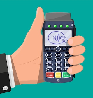 Modern pos terminal in hand. bank payment device. payment nfc keypad machine