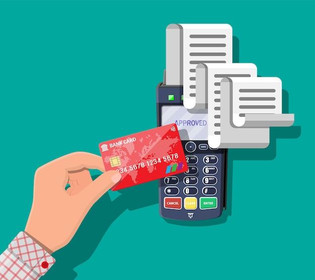 큰 종이 영수증이 있는 현대적인 pos 단말기. 쇼핑 개념입니다. 은행 결제 장치. 결제 nfc 키패드 기계. 신용카드 리더기. 평면 스타일의 벡터 일러스트 레이 션