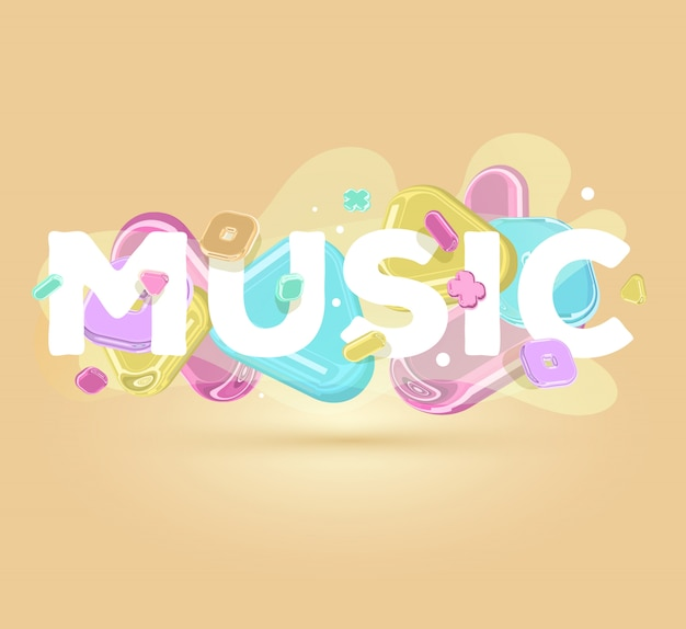 Modern positive inscription music with bright crystal  elements on light background with shadow.