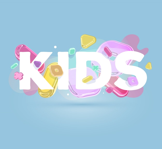 Modern positive template with bright crystal  elements and word kids on blue background with shadow.