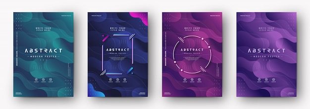 Modern poster cover with gradient abstract texture Premium Vector