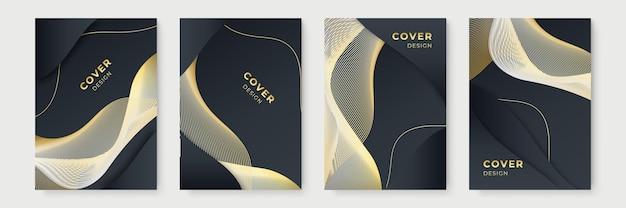 Modern poster design set in black and gold color. modern golden stripe cover design set. luxury creative gold dynamic diagonal line pattern. premium vector background