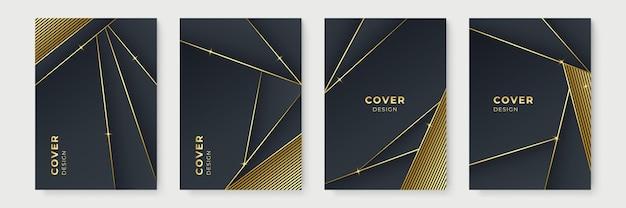 黒と金色に設定されたモダンなポスターデザイン。モダンなゴールデンストライプカバーデザインセット。ラグジュアリーでクリエイティブなゴールドのダイナミックな斜めのラインパターン。プレミアムベクトルの背景