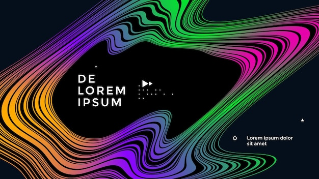 Modern poster design with striped pattern abstract linear wave compositions in gradients colors