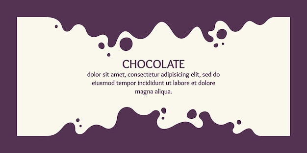 Modern poster dynamic splashes and drops of chocolate vector illustration in a flat style