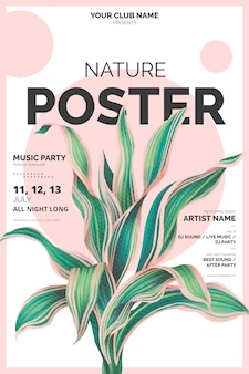 Modern poster template with botanical illustration