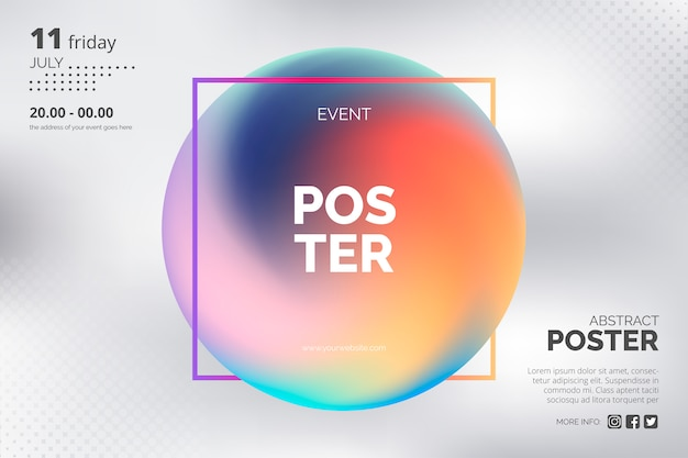 Modern poster template with holographic gradient