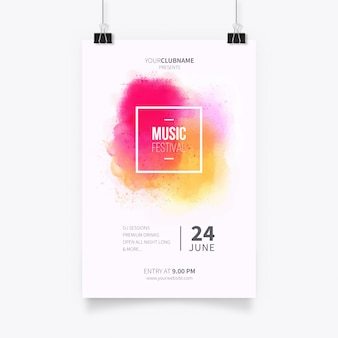 Modern poster template with watercolor splash