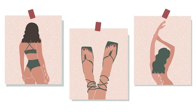 Современные плакаты с абстрактными женщинами. минимализм. искусство. векторная иллюстрация в пастельных тонах.