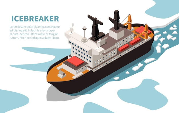 Modern powerful nuclear icebreaker ship in ice-covered water isometric