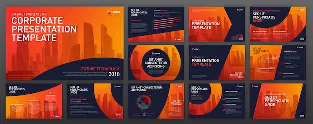 Modern powerpoint design templates set.