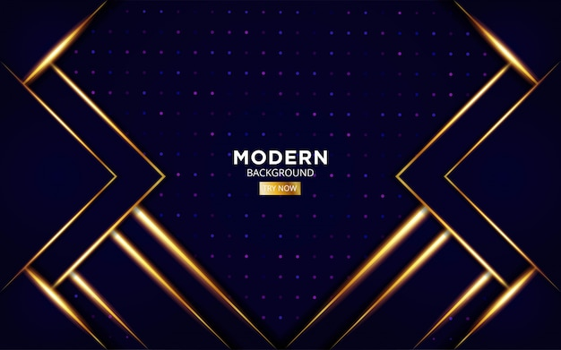 Modern premium abstract futuristic background with gold light line in dots texture.