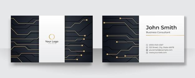 会社のロゴが付いたモダンなプレゼンテーションカード。ベクトル名刺テンプレート。金と黒の技術ネットワークの概念