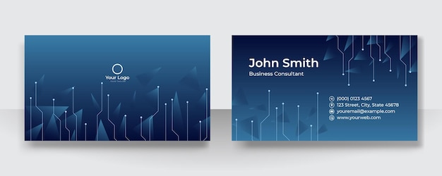 会社のロゴが付いたモダンなプレゼンテーションカード。ベクトル名刺テンプレート。ビジネス用および個人用の名刺。ベクトルイラストデザイン技術の背景