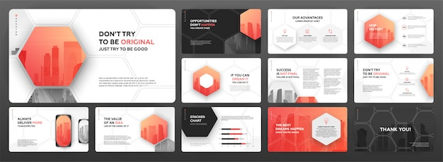 Modern presentation templates set for business and construction.