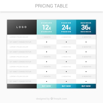 Modern price table