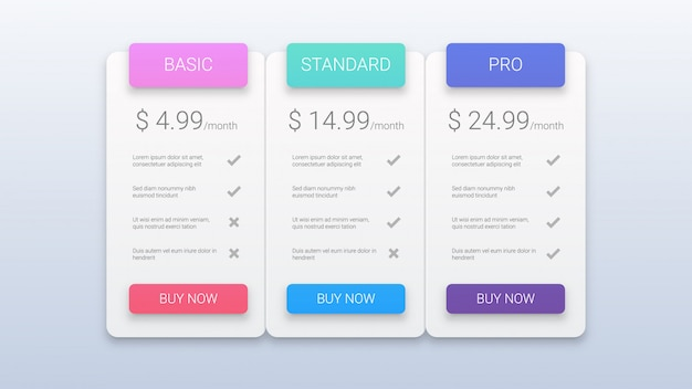Modern pricing plans template