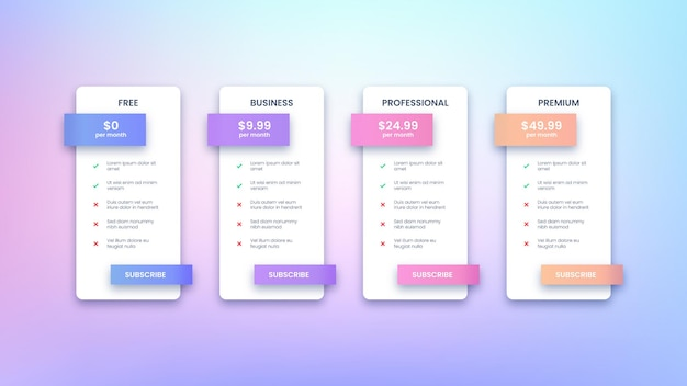 Modern pricing table design with four subscription plans