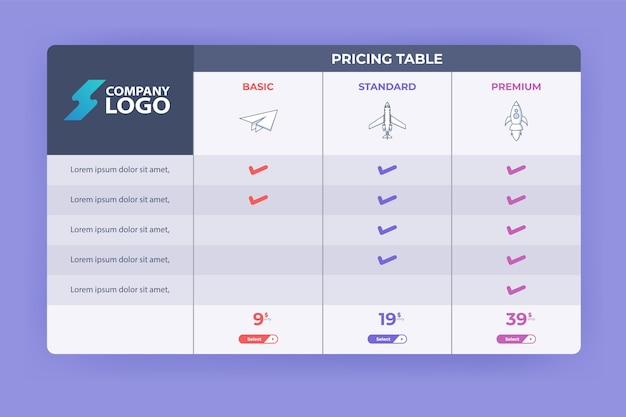 Modern pricing table design with three subscription plans. flat infographic pricing table design template for website or presentation.