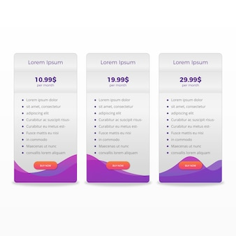 Modern pricing table plans clean template